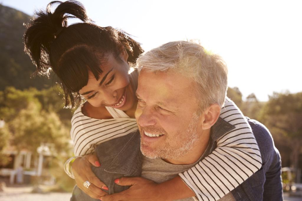 older couple flirting outside meeting singles over 40