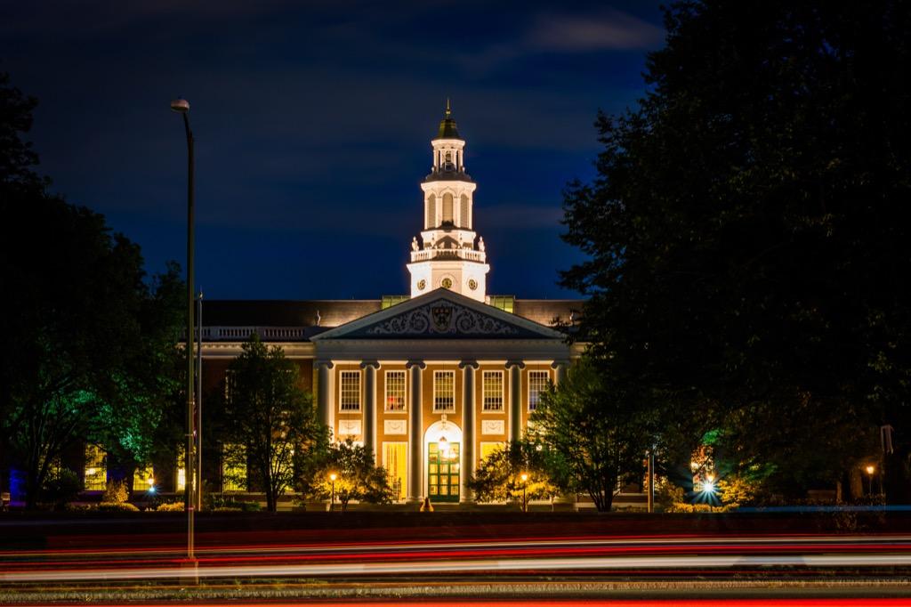 harvard university at night