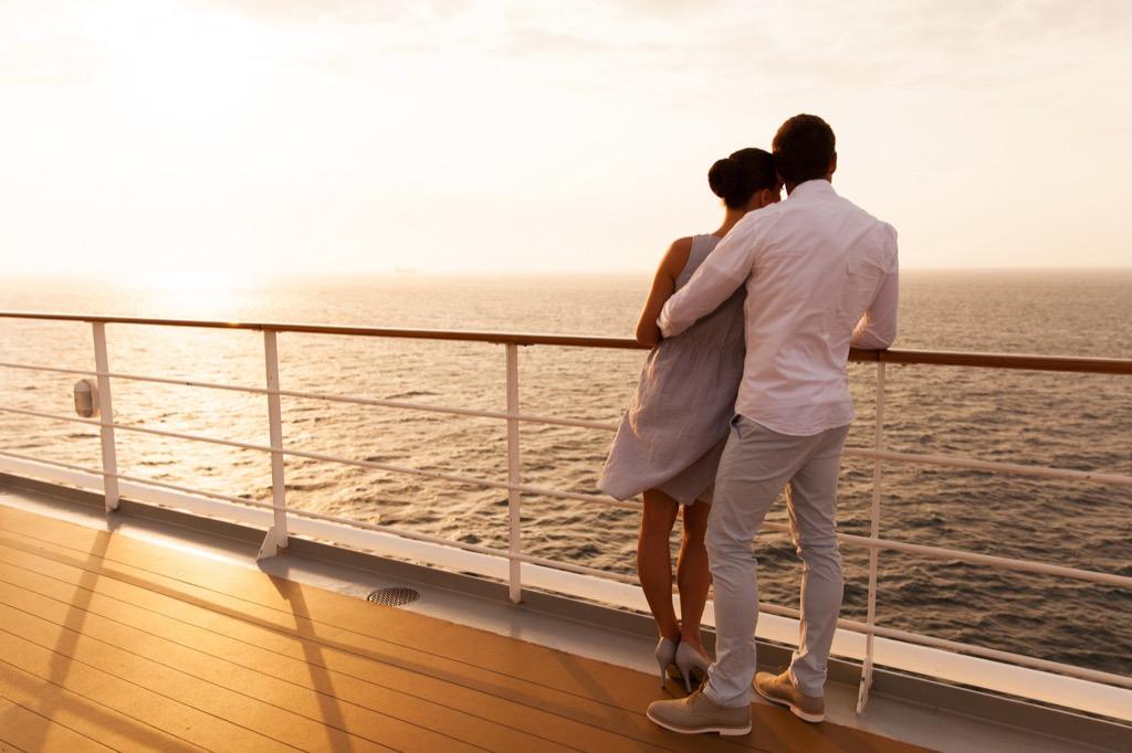 Couple celebrating their honeymoon on a cruise