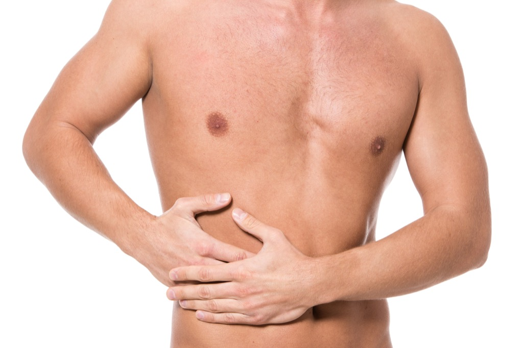 man experiencing liver pain