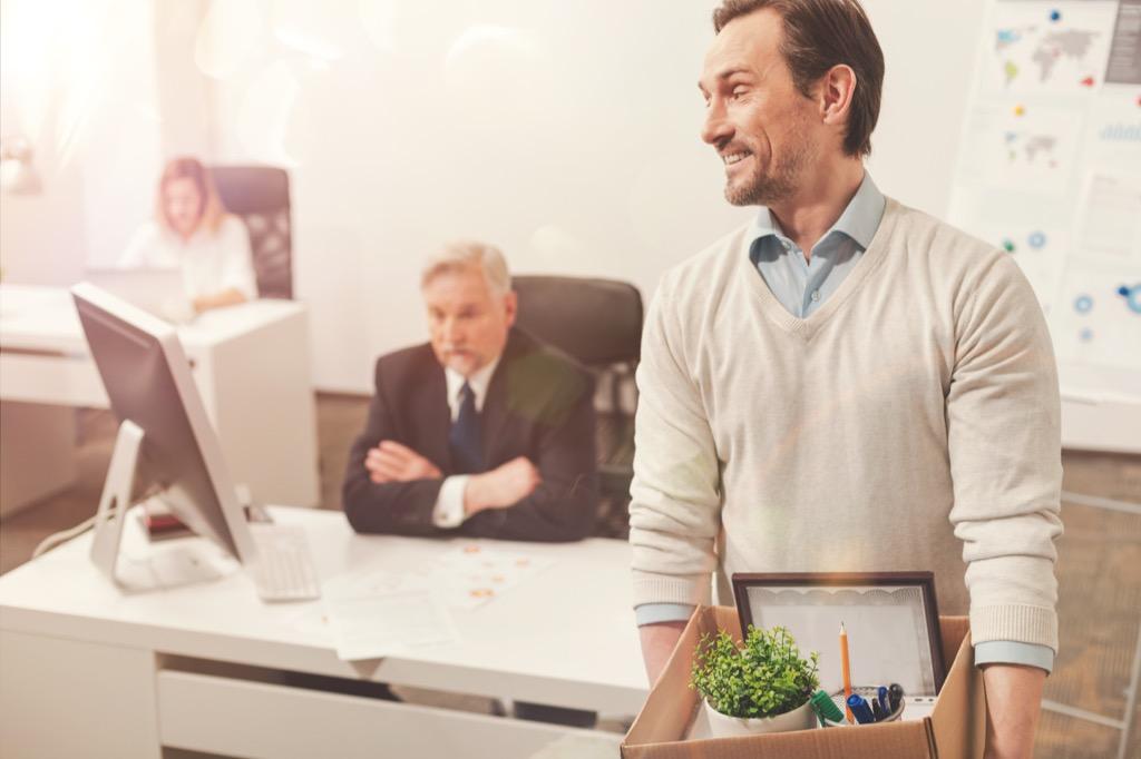 man quitting office job