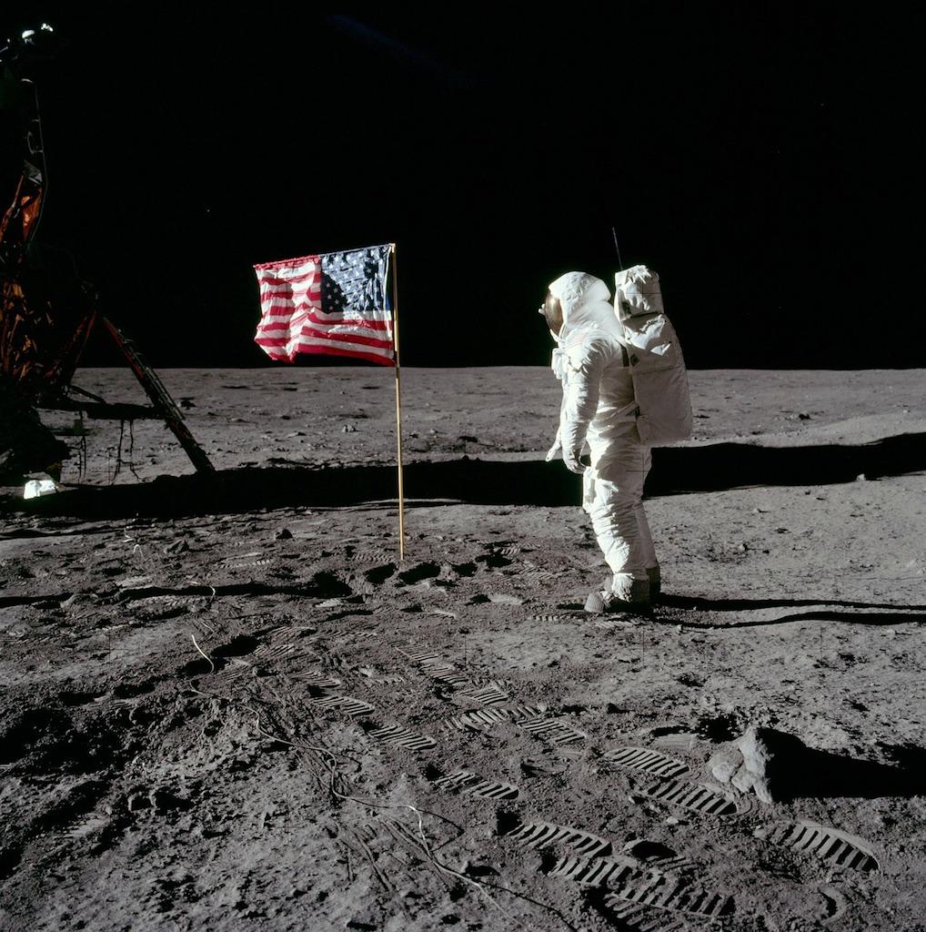 Buzz Aldrin landing on the moon