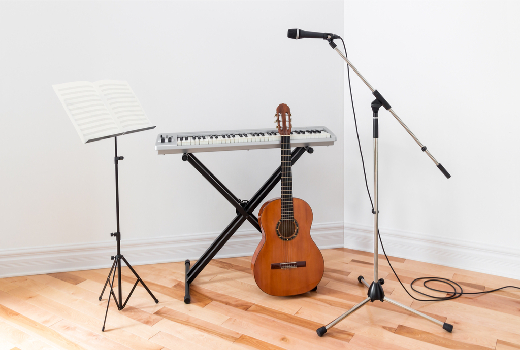 Musical Instruments in Corner Dorm Room