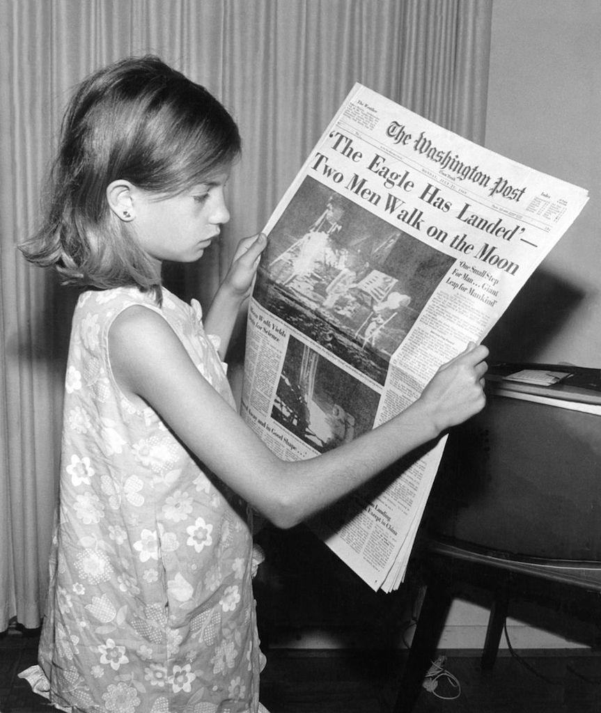 Newspaper about moon landing