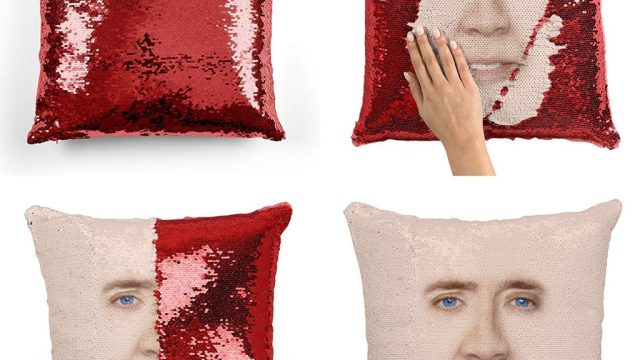 nic cage sequin pillow craziest Amazon products