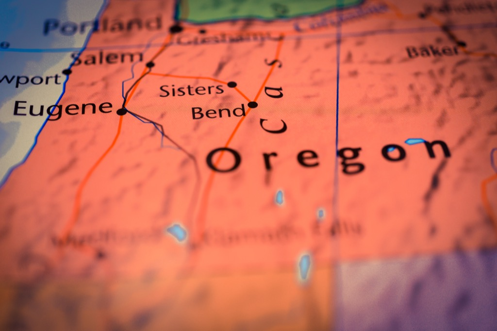 Map of oregon, state, words pronounced differently