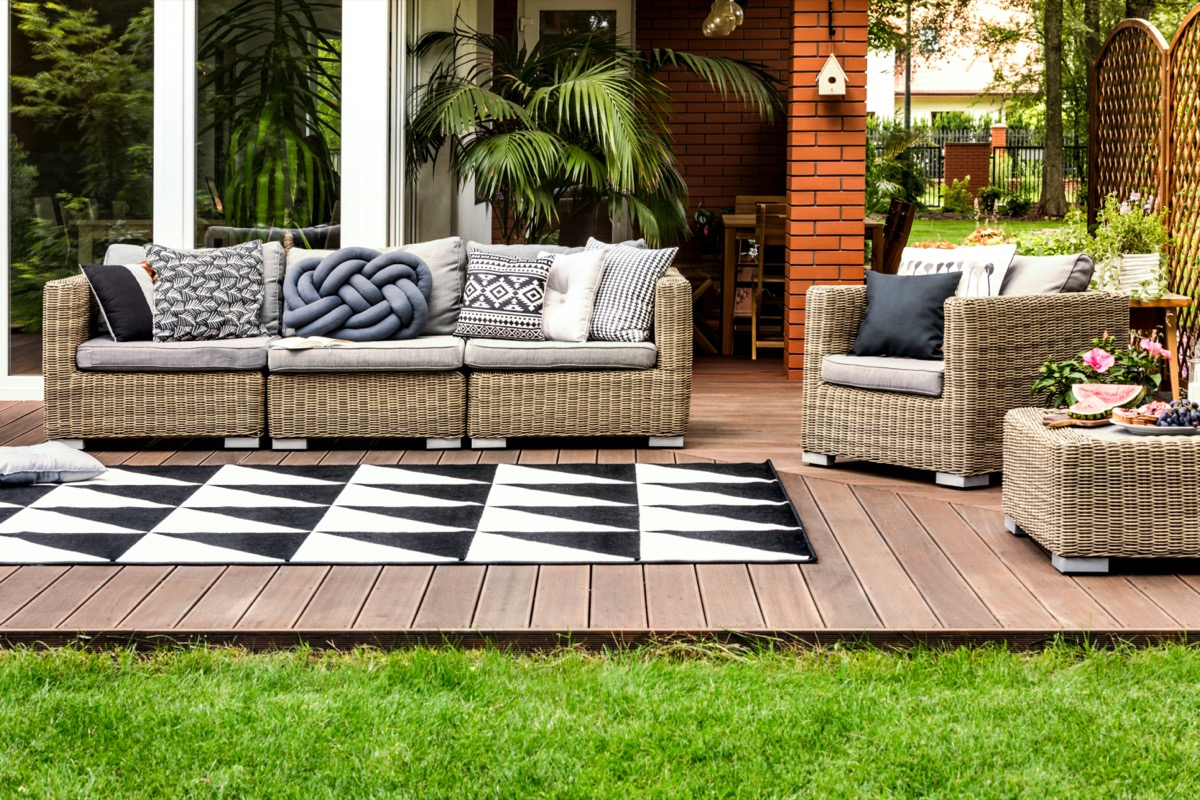 outdoor seating area with rug