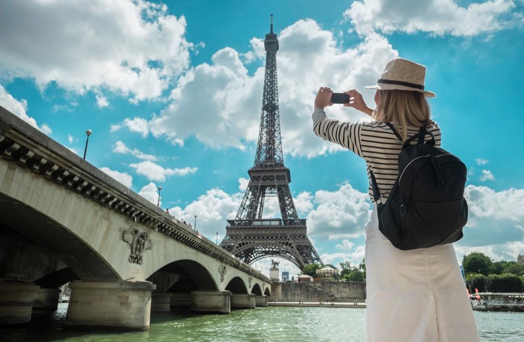 Paris tourist eiffel tower