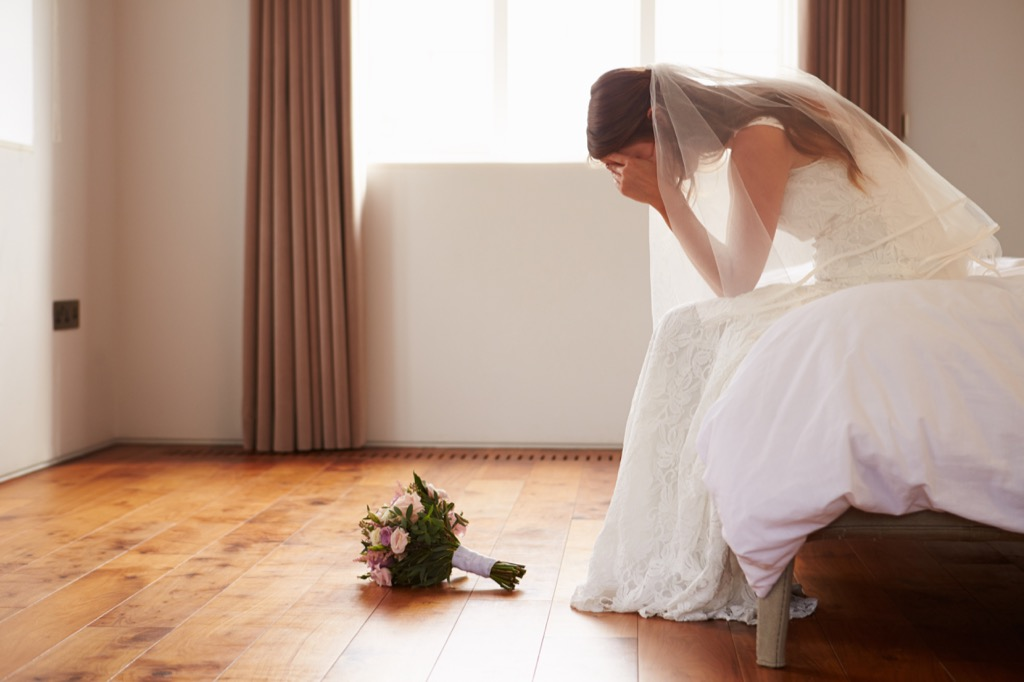 Bride on her wedding day is sad, crying