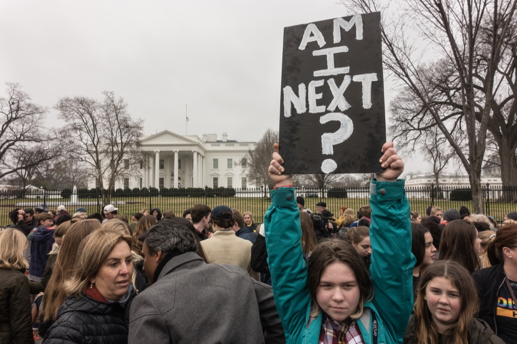 a student protesting school shootings in washington dc