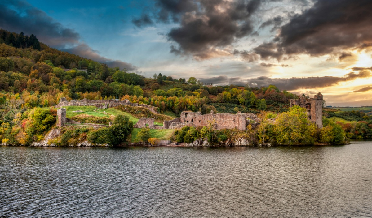 View of Urquhart Castle and Loch Ness in the Highlands of Scotland