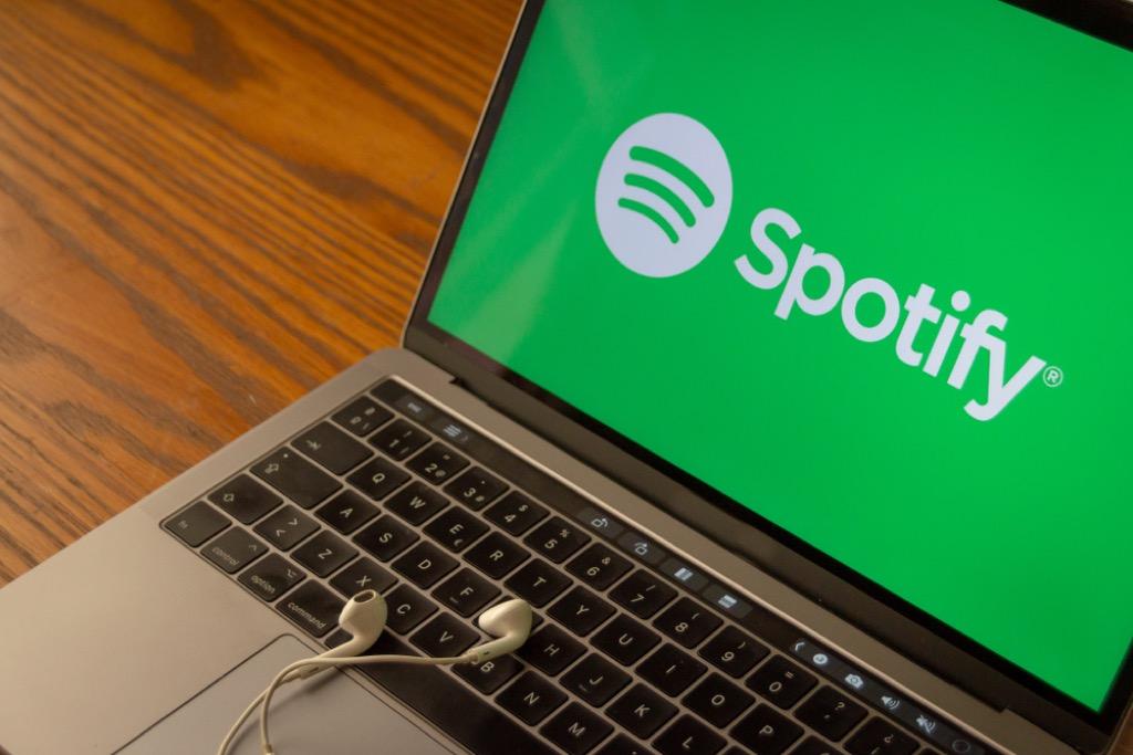 spotify on laptop