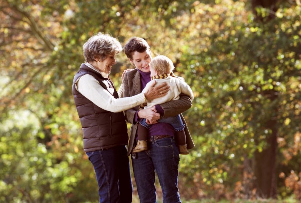 Three generations, mom, grandma, grandparent