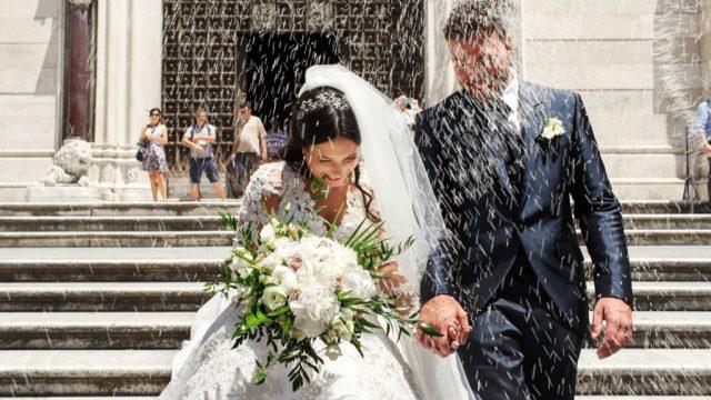 Throwing rice wedding