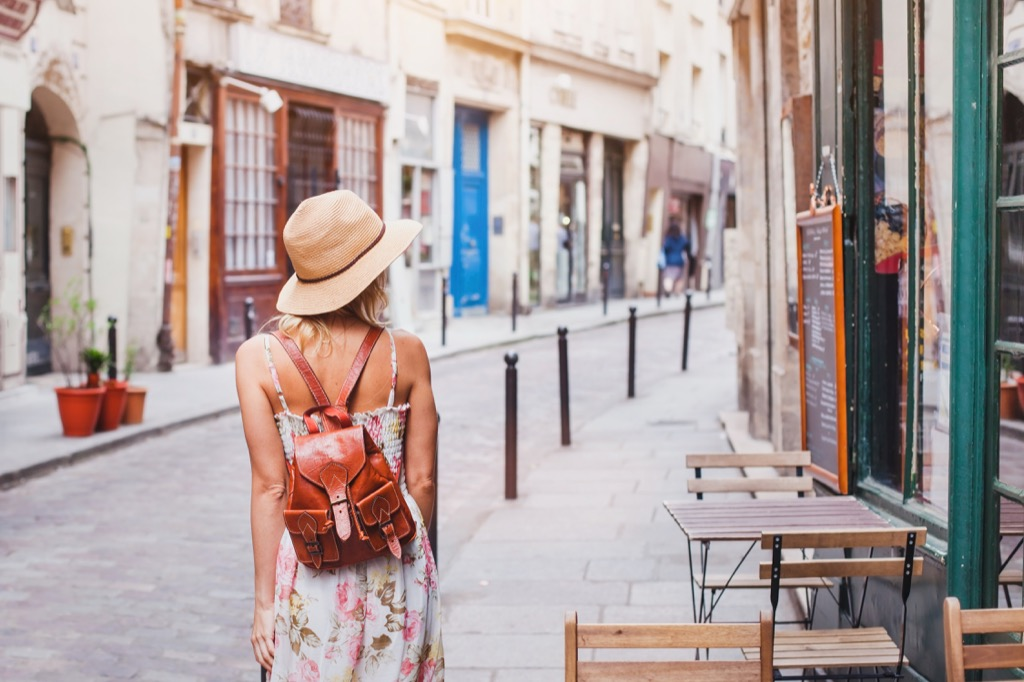 young woman traveling in europe