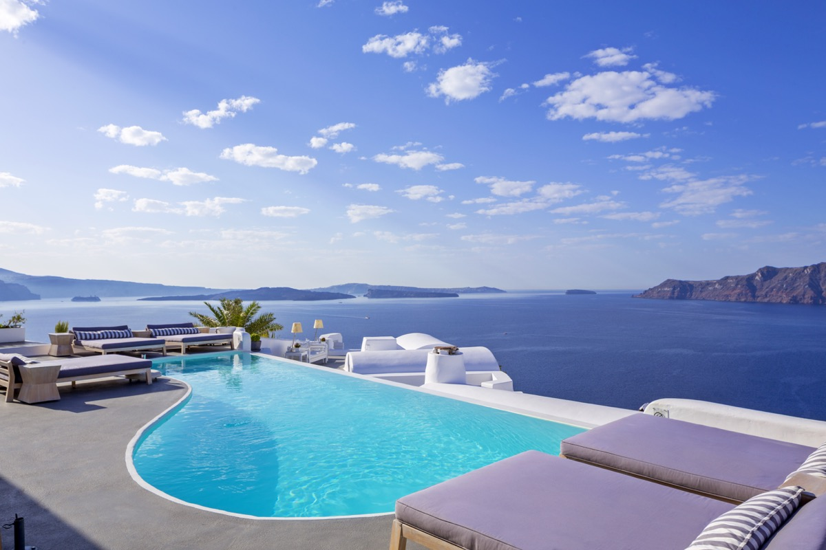 Katikies pool bar overlooking the Mediterranean Sea