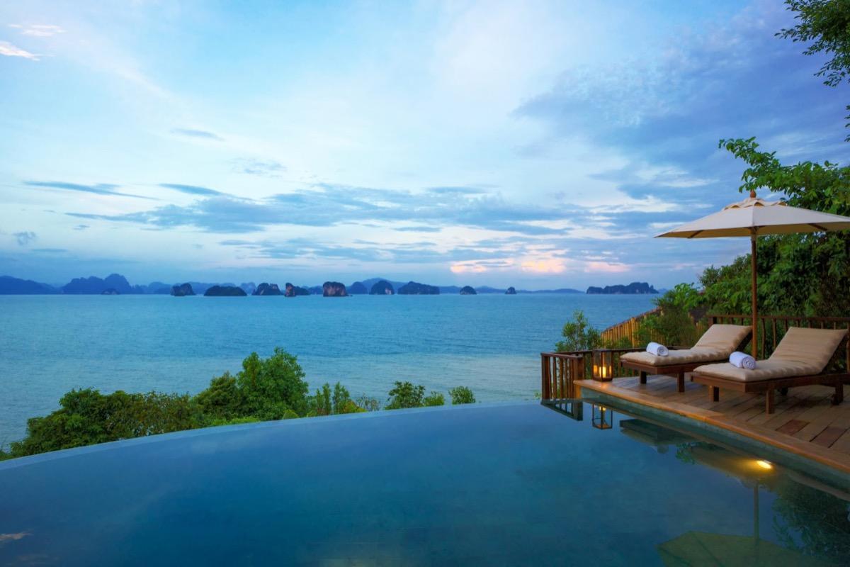 infinity pool overlooking phang nga bay