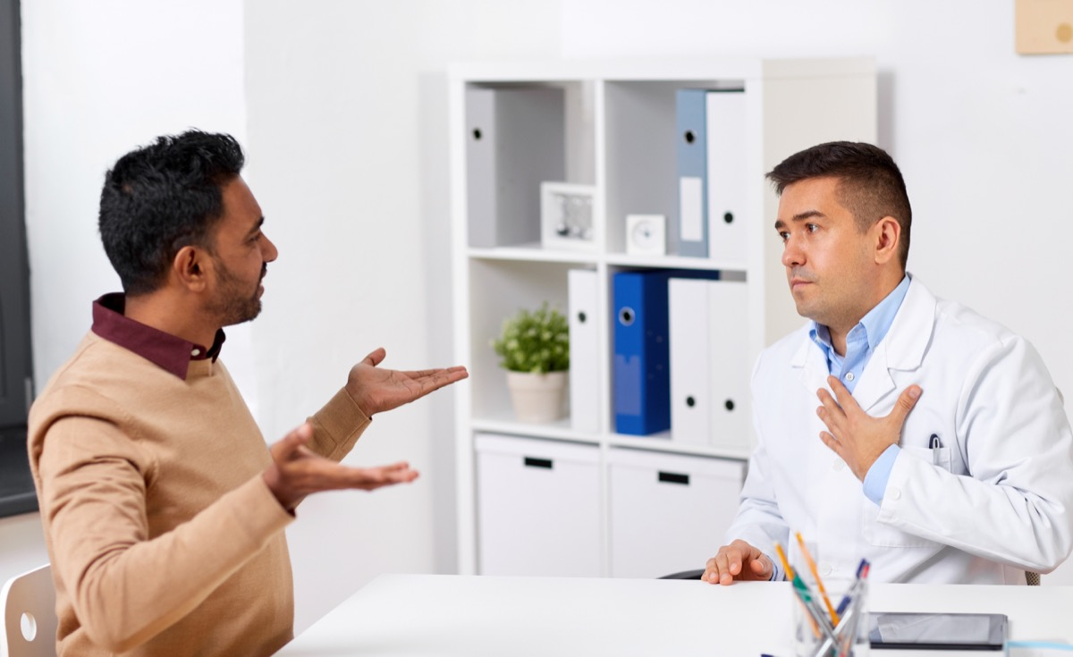An angry patient talking to his doctor