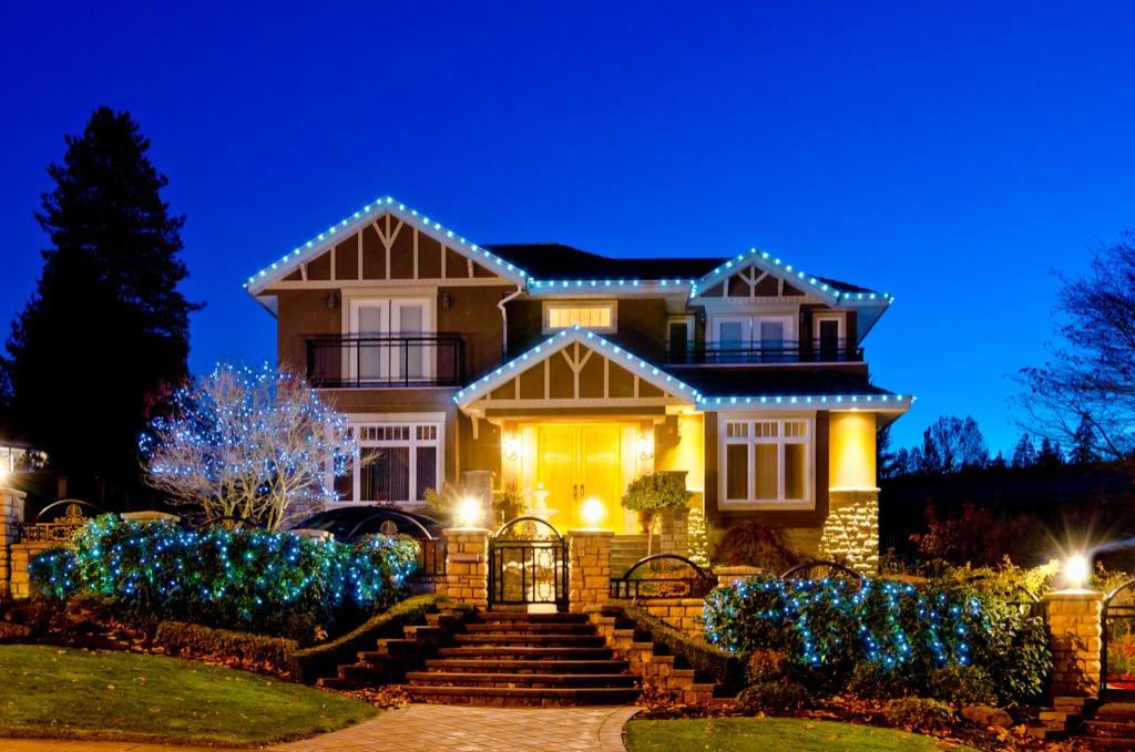 a beautiful suburban house at night