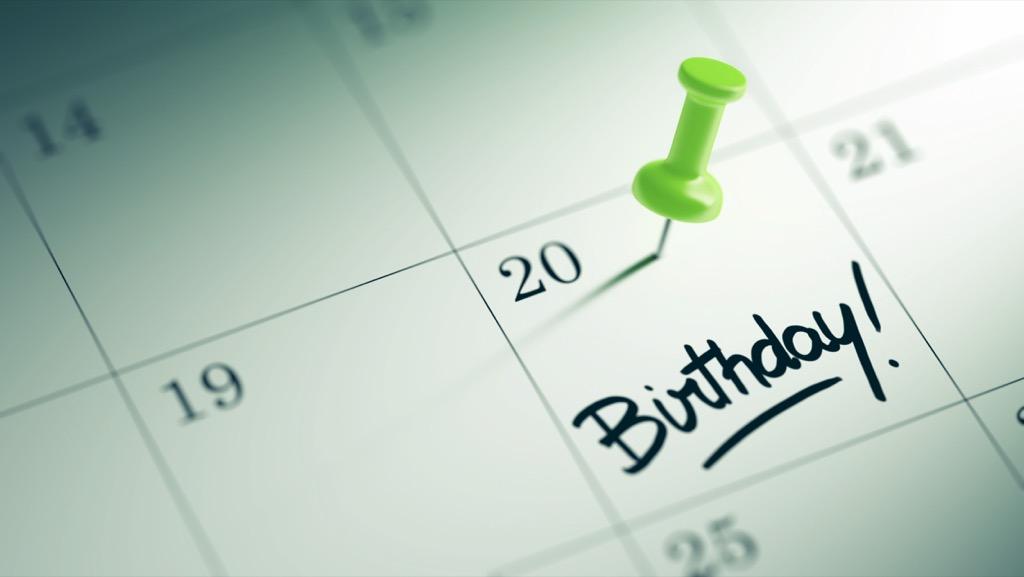 Birthday marked on a calendar
