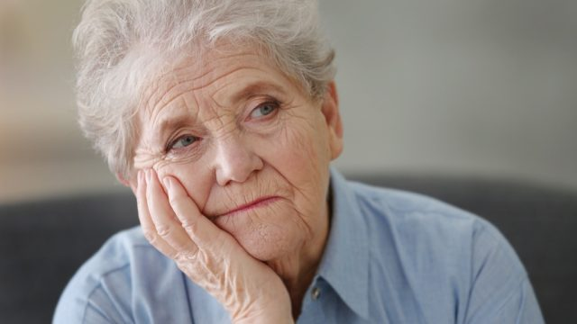bored elderly woman