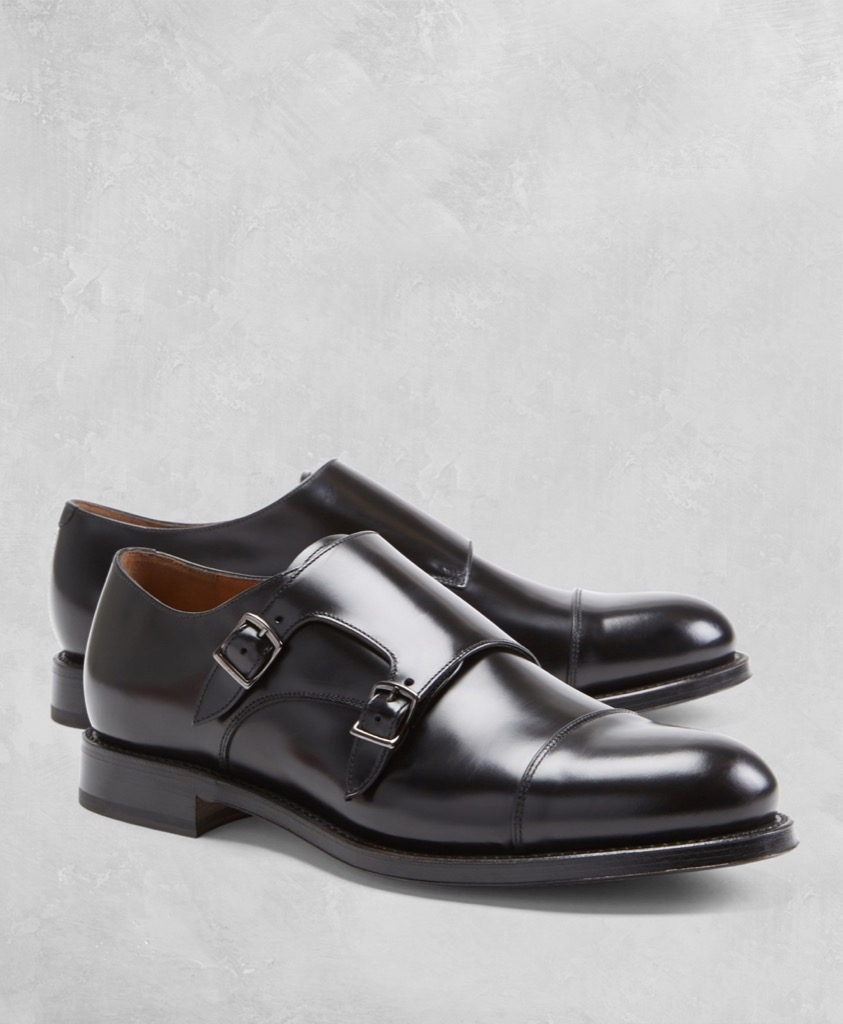 brooks brothers double monkstrap in black
