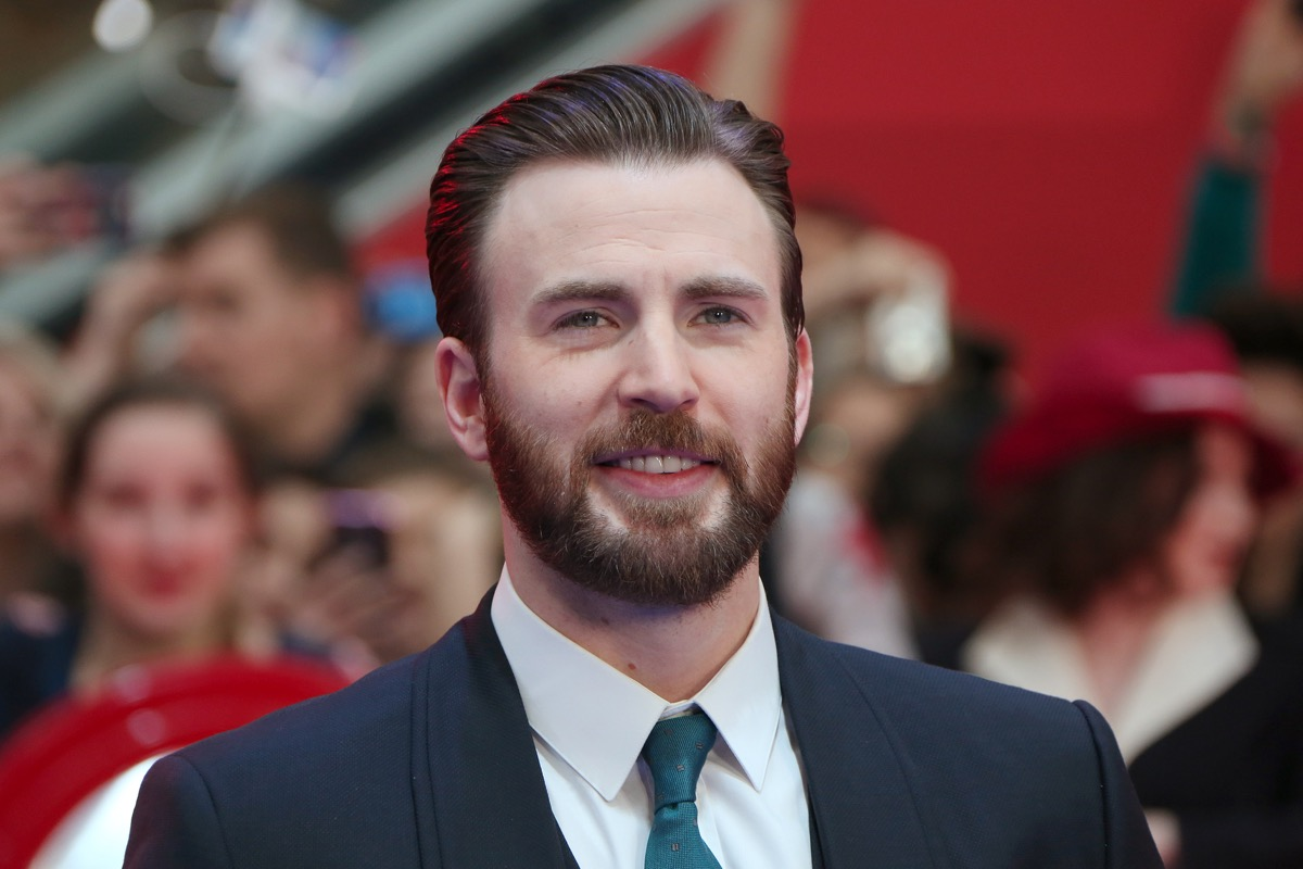 chris evans sporting perfectly groomed facial hair