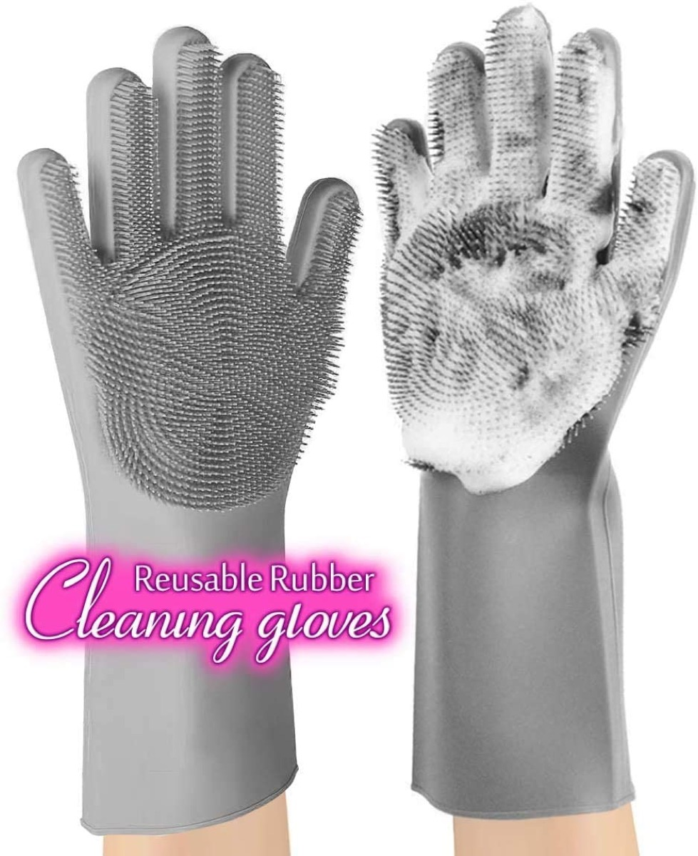 gray silicone cleaning gloves