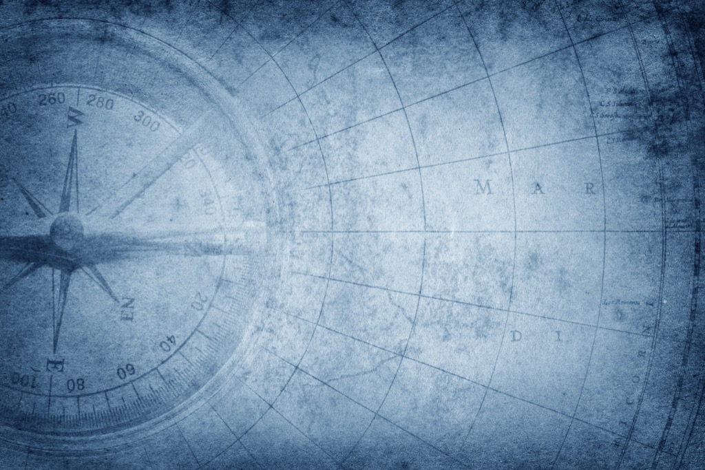 compass on a nautical map