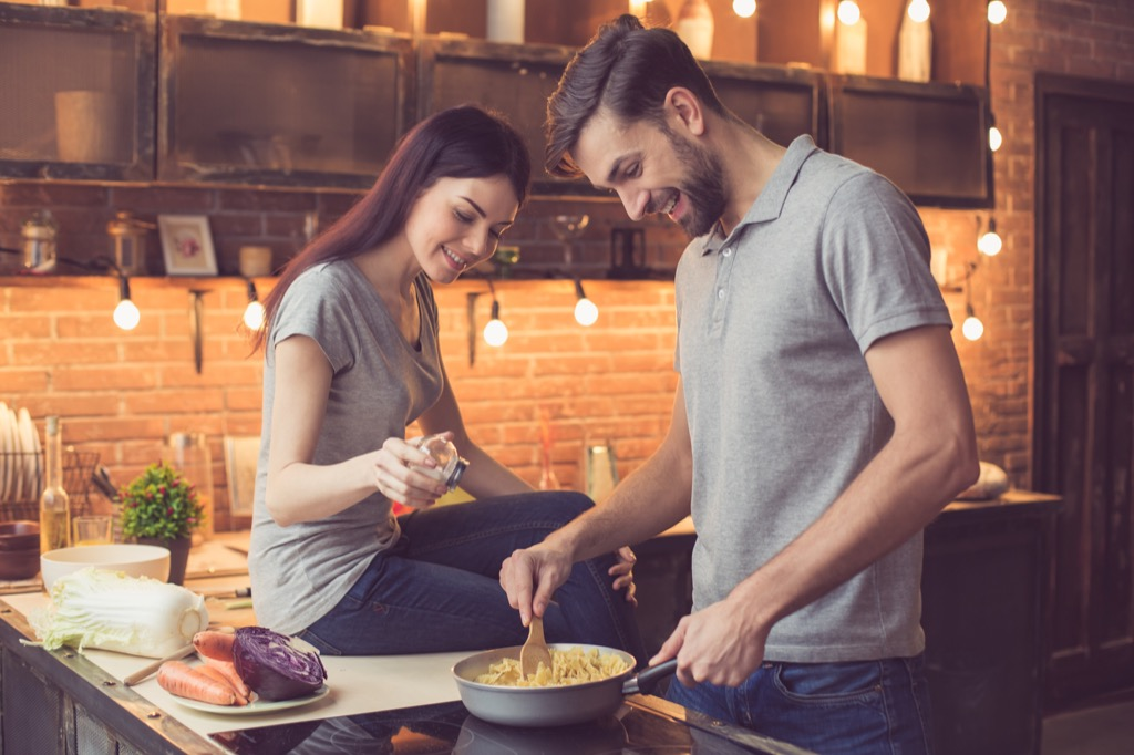 couple cooking together, date night ideas