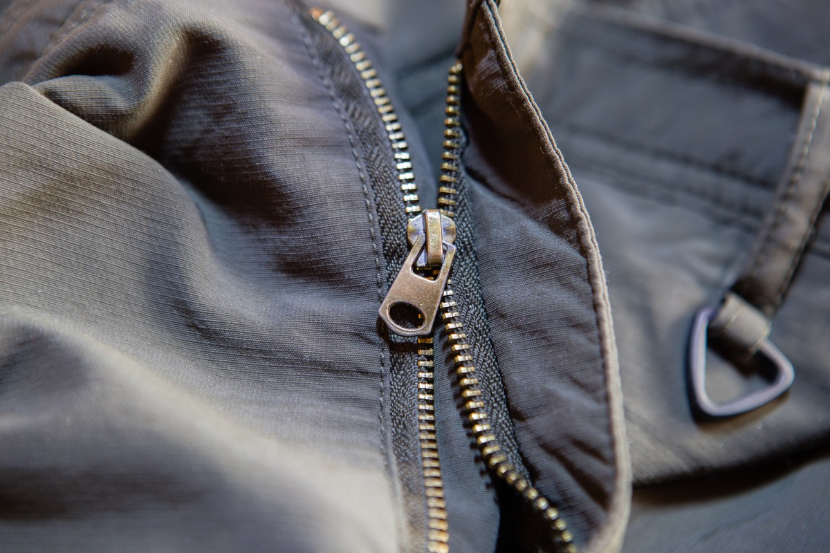 Old and damaged zipper on a jacket