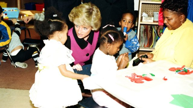 Princess Diana with schoolkids in New York