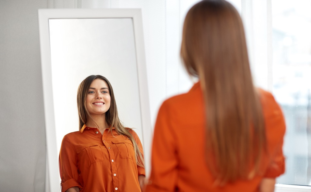 woman in dressing room