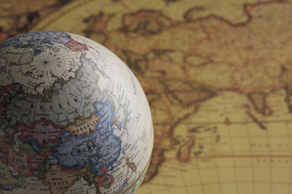 a globe and a map