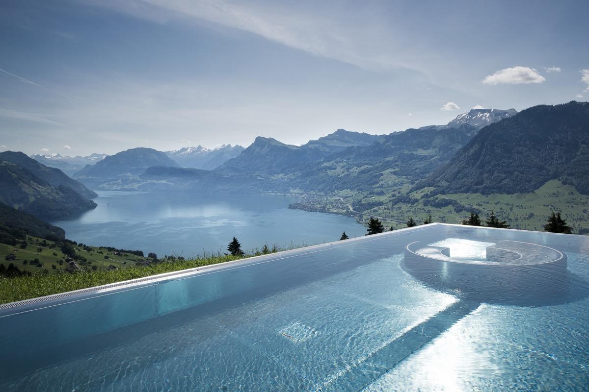 infinity pool overlooking the alps