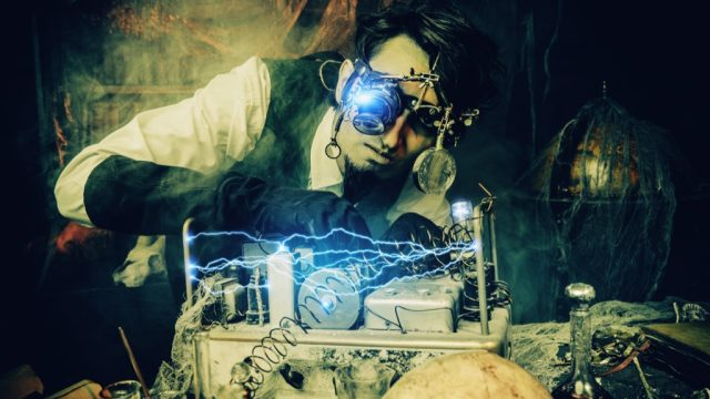 an inventor tinkering with an invention