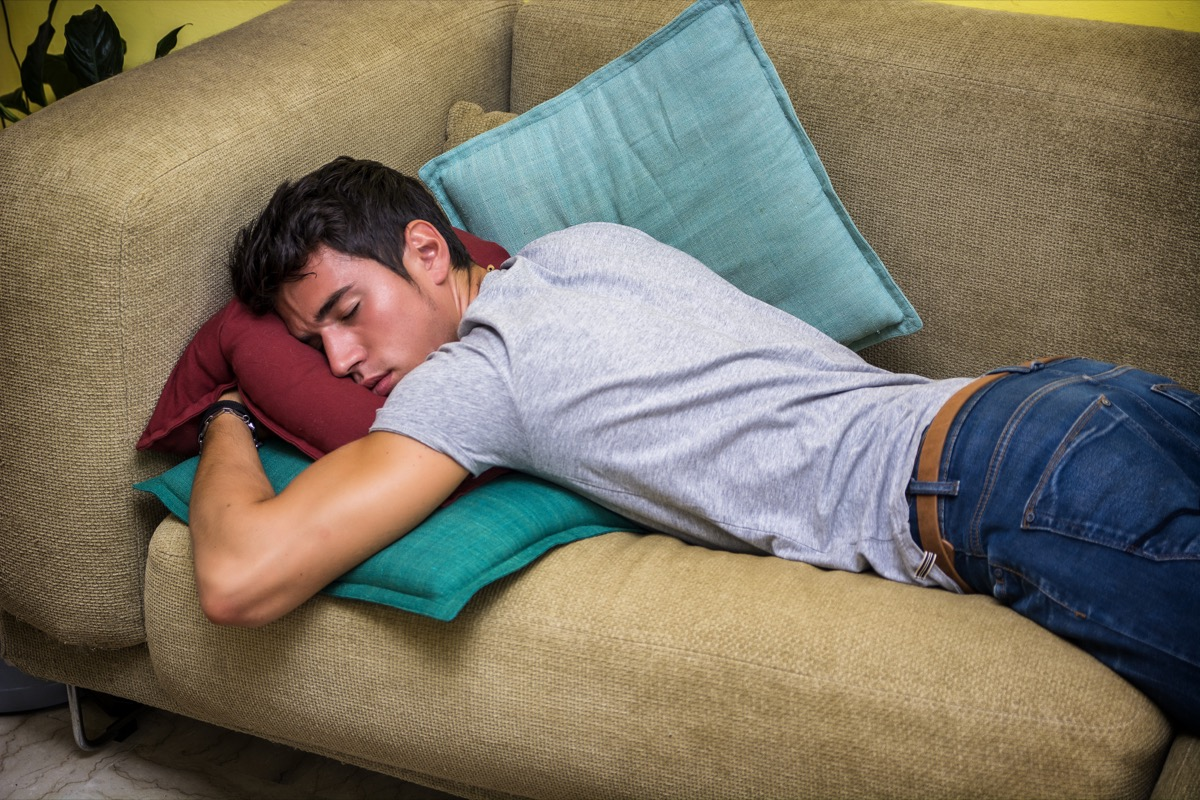 Man fell asleep on couch