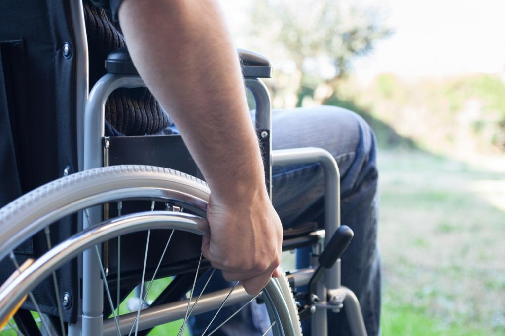 Paralyzed man in a wheelchair