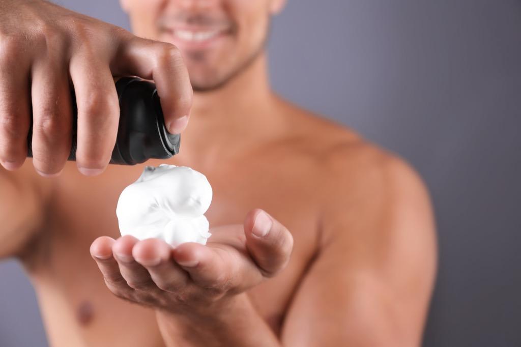 man with foamy shaving cream