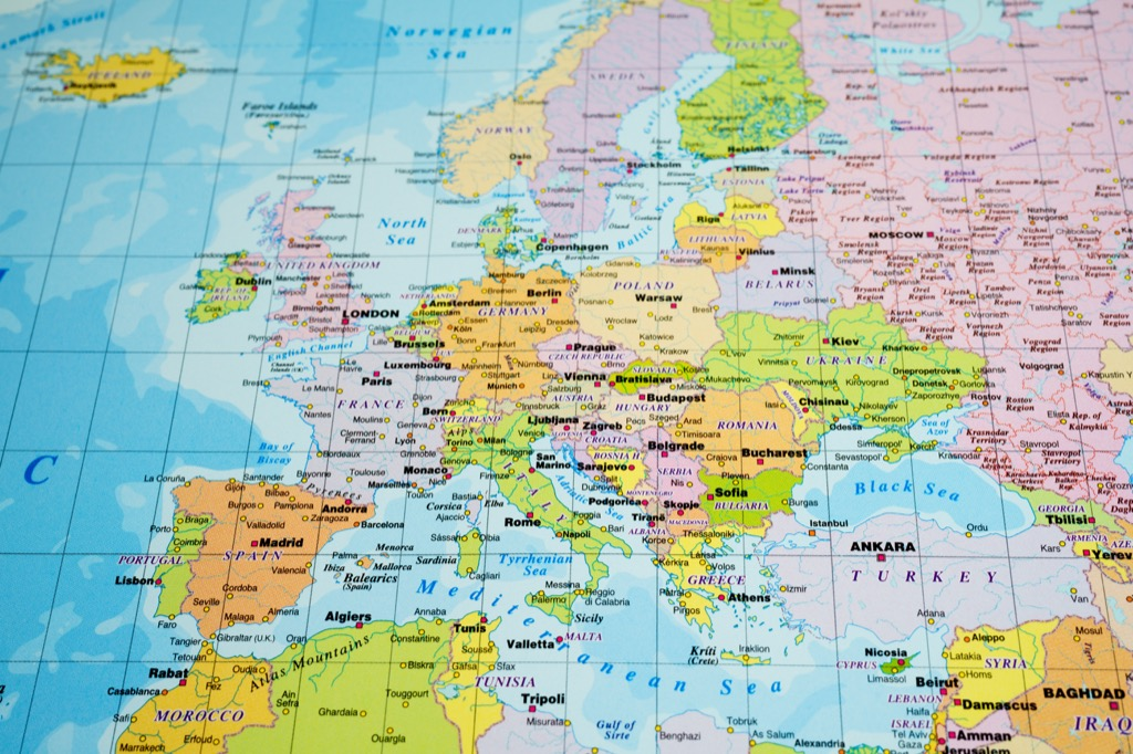 close up map of europe