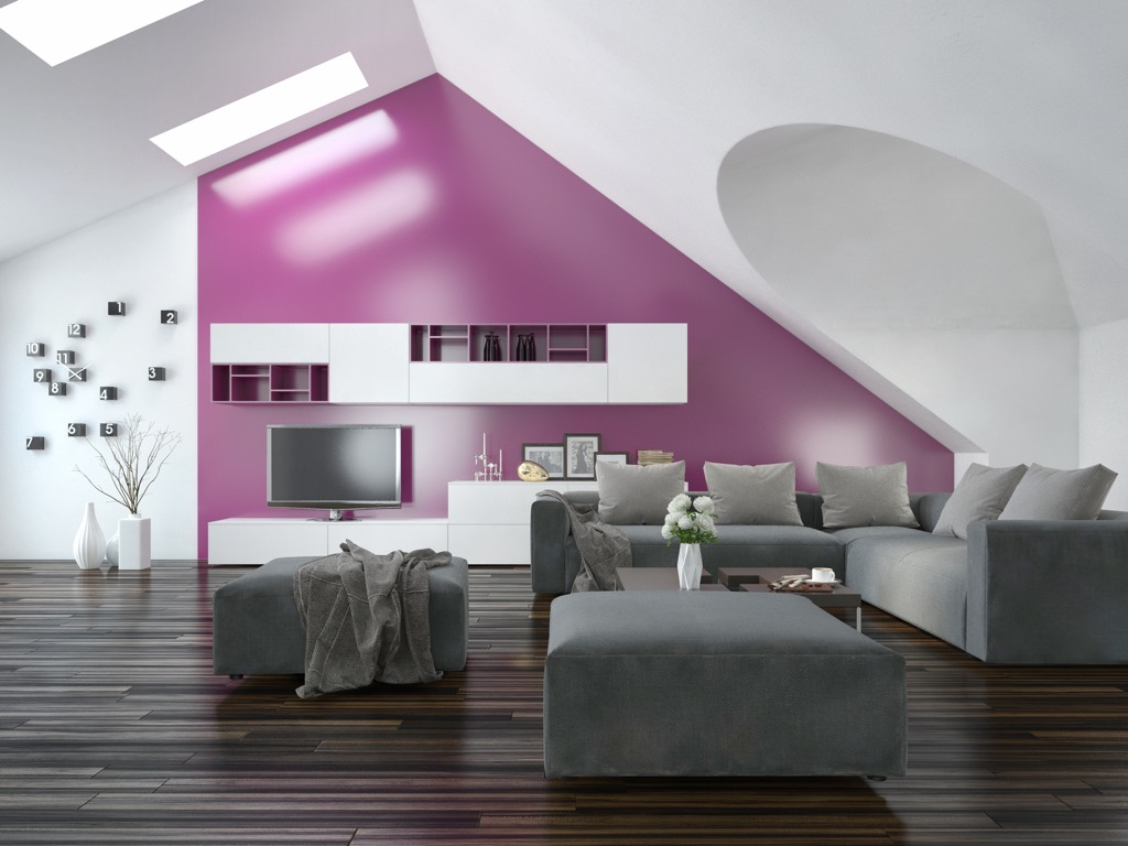 modern apartment with a bright purple accent wall