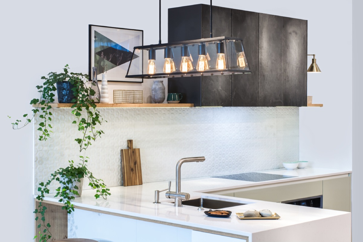 modern kitchen with pendant light, home upgrades
