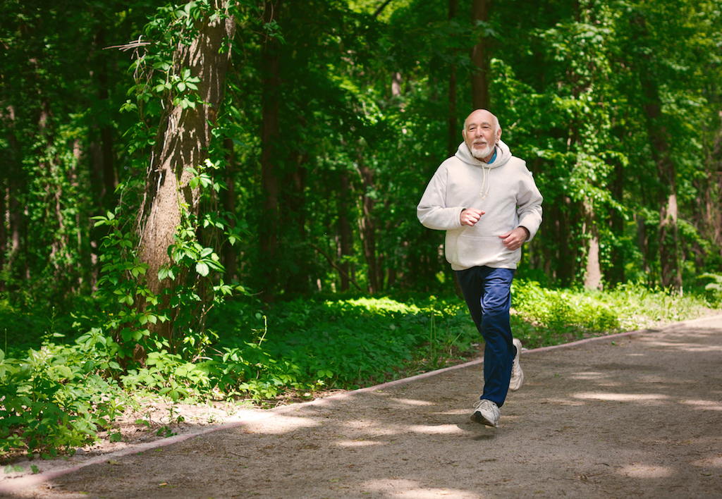 old man exercising, going for a run