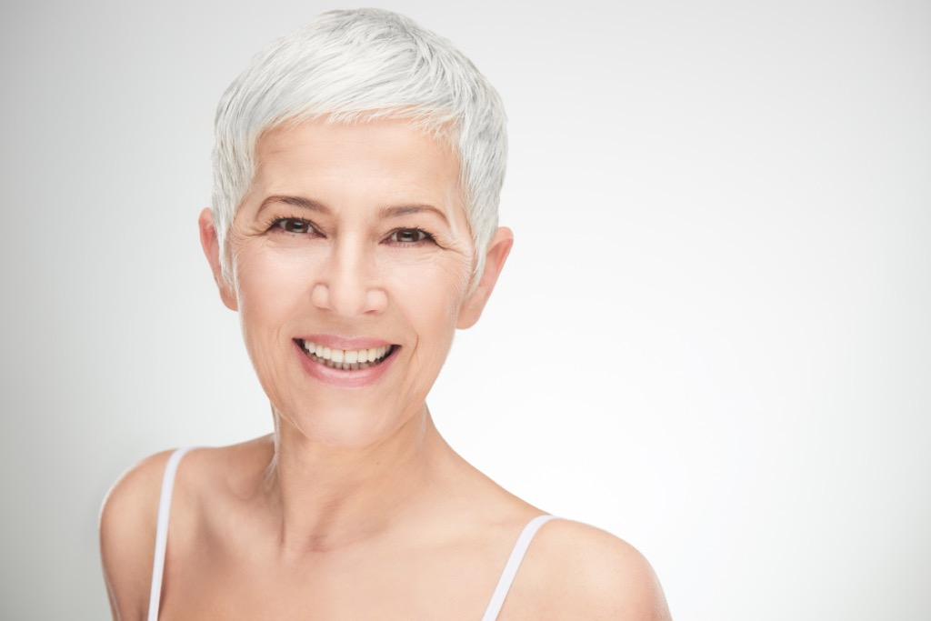 older woman with pixie cut, look better after 40