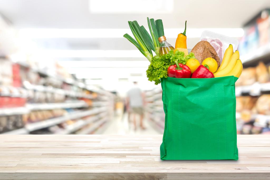 reusable bag with groceries