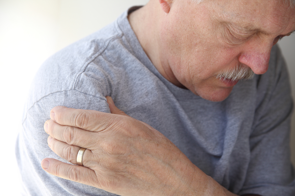 man with a shoulder injury, rotator cuff