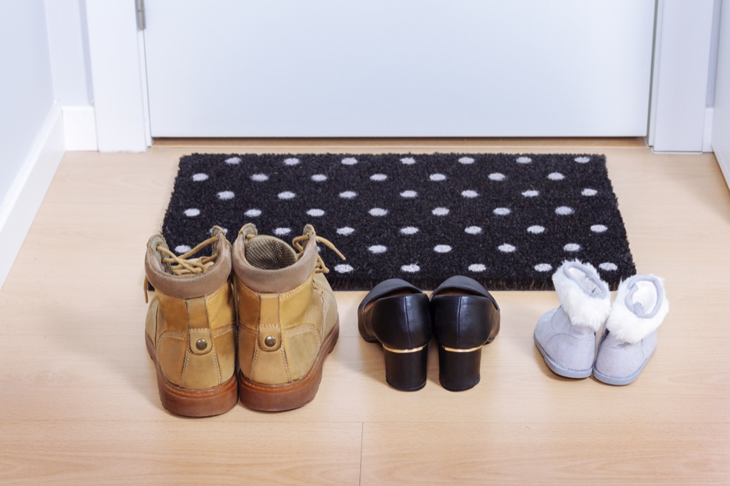 shoes by the front door, easy home tips
