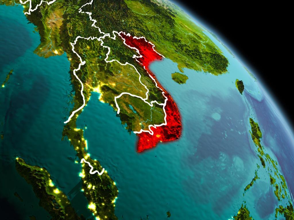 highlighted satellite view of vietnam