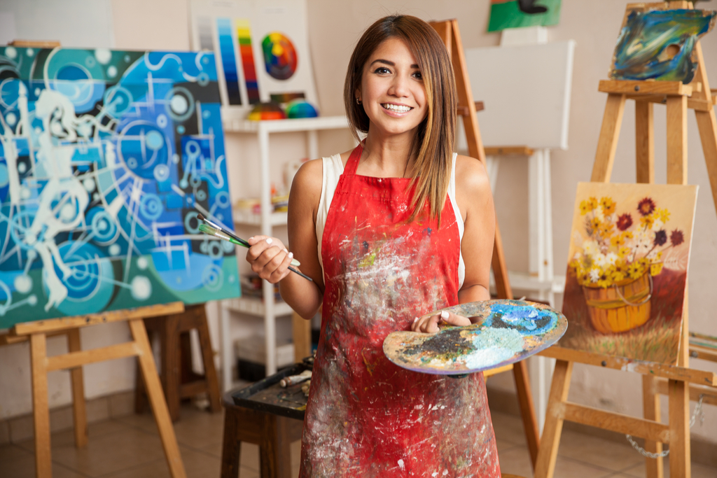Woman painting New Year's Resolutions