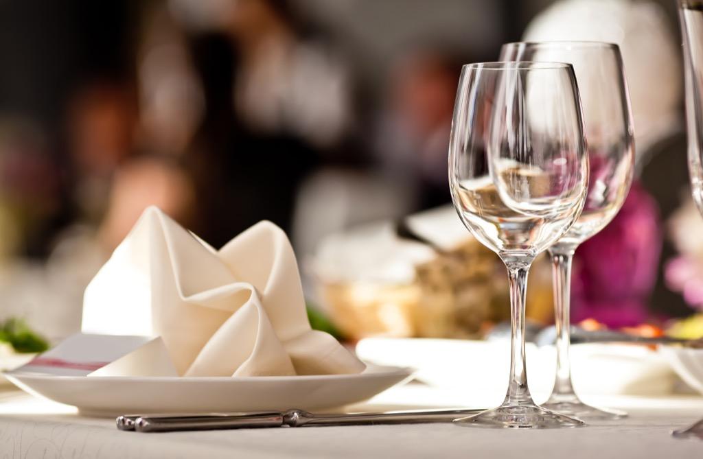 table set at restaurant